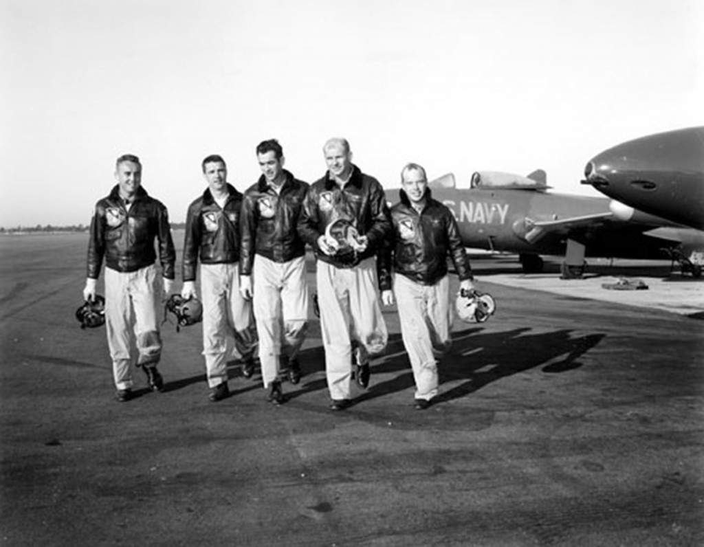 Blue Angels pilots depart their Grumman F9F Panthers after landing at NAS  Jacksonville in December 1952.