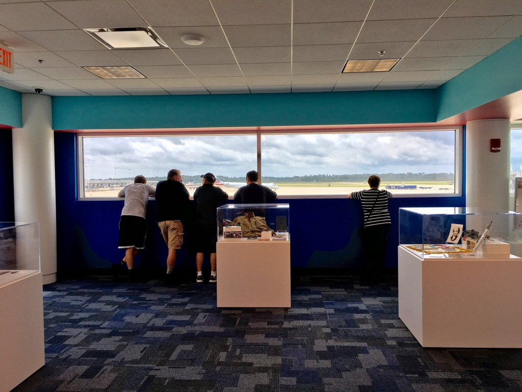 Visitors to the new Aviation Gallery can watch ramp activity from the large windows.