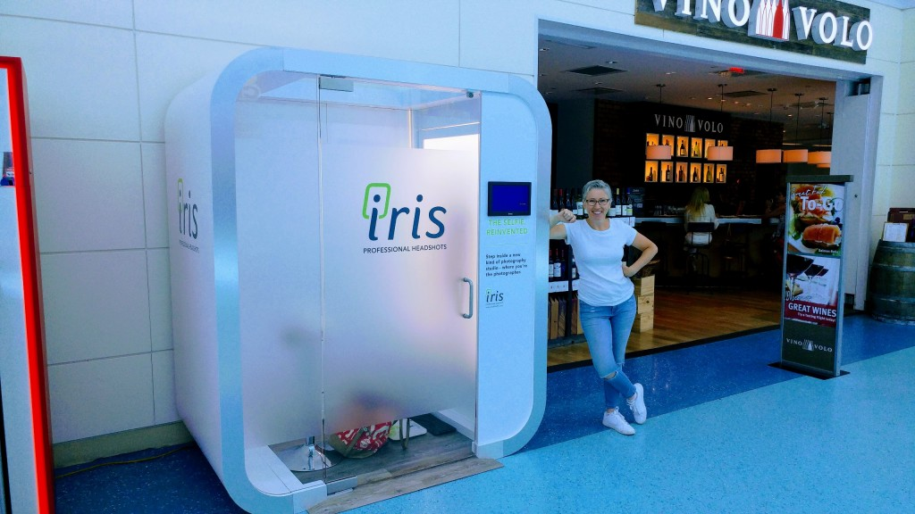 Sue Siri, creator of Iris Booth during the install at JAX